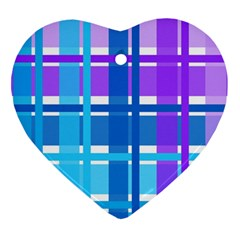 Gingham Pattern Blue Purple Shades Heart Ornament (two Sides)