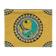 Madhubani Fish Indian Ethnic Pattern Cosmetic Bag (xl) by Sapixe