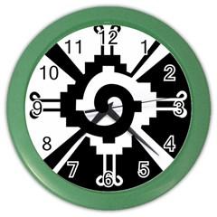 Maya Calendar Native American Religion Color Wall Clocks by Sapixe