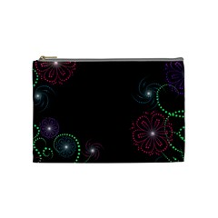 Neon Flowers And Swirls Abstract Cosmetic Bag (medium)  by Sapixe