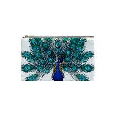 Peacock Bird Peacock Feathers Cosmetic Bag (small)  by Sapixe