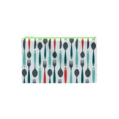 Spoon Fork Knife Pattern Cosmetic Bag (xs)
