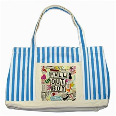 Fall Out Boy Lyric Art Striped Blue Tote Bag