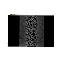 Grayscale Joy Division Graph Unknown Pleasures Cosmetic Bag (large)  by Samandel