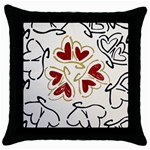 Love Love Hearts Throw Pillow Case (Black)