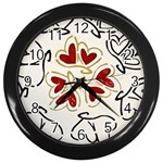 Love Love Hearts Wall Clocks (Black)