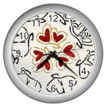 Love Love Hearts Wall Clocks (Silver)  Front