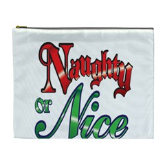 Vintage Christmas Naughty Or Nice Cosmetic Bag (xl) by Sapixe