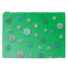 Snowflakes Winter Christmas Overlay Cosmetic Bag (xxl)  by Sapixe