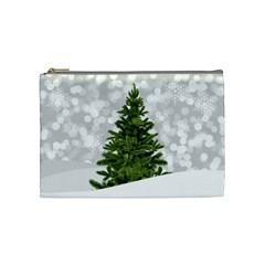 Christmas Xmas Tree Bokeh Cosmetic Bag (medium)