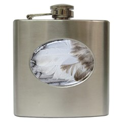 Feather Brown Gray White Natural Photography Elegant Hip Flask (6 Oz)