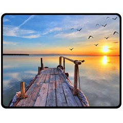 Sunset Lake Beautiful Nature Fleece Blanket (medium)  by Modern2018