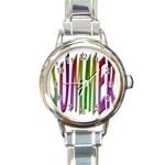 Summer Colorful Rainbow Typography Round Italian Charm Watch