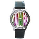 Summer Colorful Rainbow Typography Round Metal Watch