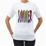 Summer Colorful Rainbow Typography Women s T-Shirt (White) (Two Sided)