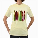 Summer Colorful Rainbow Typography Women s Yellow T-Shirt