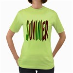 Summer Colorful Rainbow Typography Women s Green T-Shirt