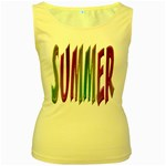 Summer Colorful Rainbow Typography Women s Yellow Tank Top