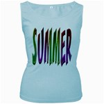 Summer Colorful Rainbow Typography Women s Baby Blue Tank Top