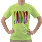 Summer Colorful Rainbow Typography Green T-Shirt