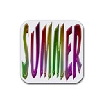 Summer Colorful Rainbow Typography Rubber Coaster (Square)