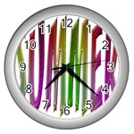 Summer Colorful Rainbow Typography Wall Clocks (Silver)