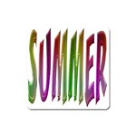 Summer Colorful Rainbow Typography Square Magnet
