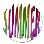 Summer Colorful Rainbow Typography Magnet 5  (Round)