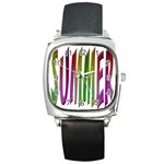 Summer Colorful Rainbow Typography Square Metal Watch
