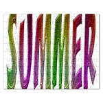 Summer Colorful Rainbow Typography Rectangular Jigsaw Puzzl