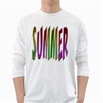 Summer Colorful Rainbow Typography White Long Sleeve T-Shirts