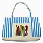 Summer Colorful Rainbow Typography Striped Blue Tote Bag