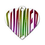 Summer Colorful Rainbow Typography Dog Tag Heart (One Side)