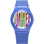 Summer Colorful Rainbow Typography Round Plastic Sport Watch (S)