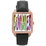 Summer Colorful Rainbow Typography Rose Gold Leather Watch