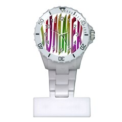 Summer Colorful Rainbow Typography Plastic Nurses Watch by yoursparklingshop