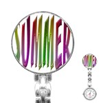 Summer Colorful Rainbow Typography Stainless Steel Nurses Watch