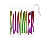 Summer Colorful Rainbow Typography Drawstring Pouches (Large)