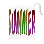 Summer Colorful Rainbow Typography Drawstring Pouches (Extra Large)