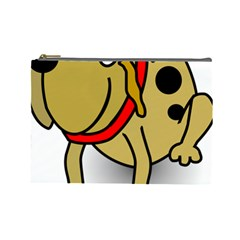 Dog Brown Spots Black Cartoon Cosmetic Bag (large)  by Nexatart