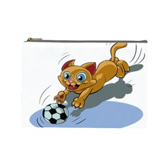 Cat Ball Play Funny Game Playing Cosmetic Bag (large)  by Nexatart