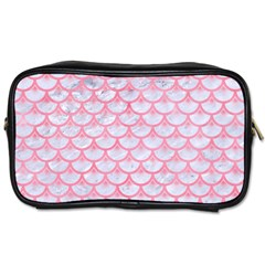 Scales3 White Marble & Pink Watercolor (r) Toiletries Bags 2 Side by trendistuff