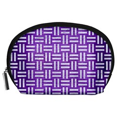 Woven1 White Marble & Purple Brushed Metal Accessory Pouches (large)