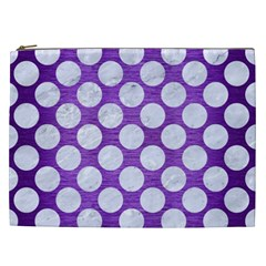 Circles2 White Marble & Purple Brushed Metal Cosmetic Bag (xxl)  by trendistuff
