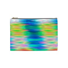 Wave Rainbow Bright Texture Cosmetic Bag (medium)  by Sapixe