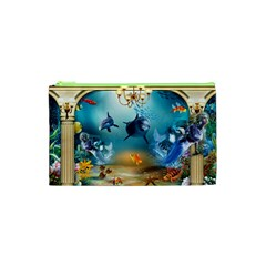Dolphin Art Creation Natural Water Cosmetic Bag (xs) by Sapixe