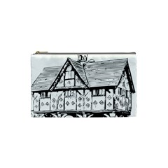 Line Art Architecture Vintage Old Cosmetic Bag (small)  by Sapixe