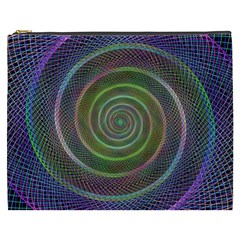 Spiral Fractal Digital Modern Cosmetic Bag (xxxl)