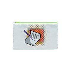 Letter Paper Note Design White Cosmetic Bag (xs)
