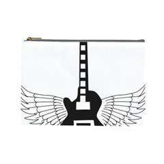 Guitar Abstract Wings Silhouette Cosmetic Bag (large)  by Sapixe